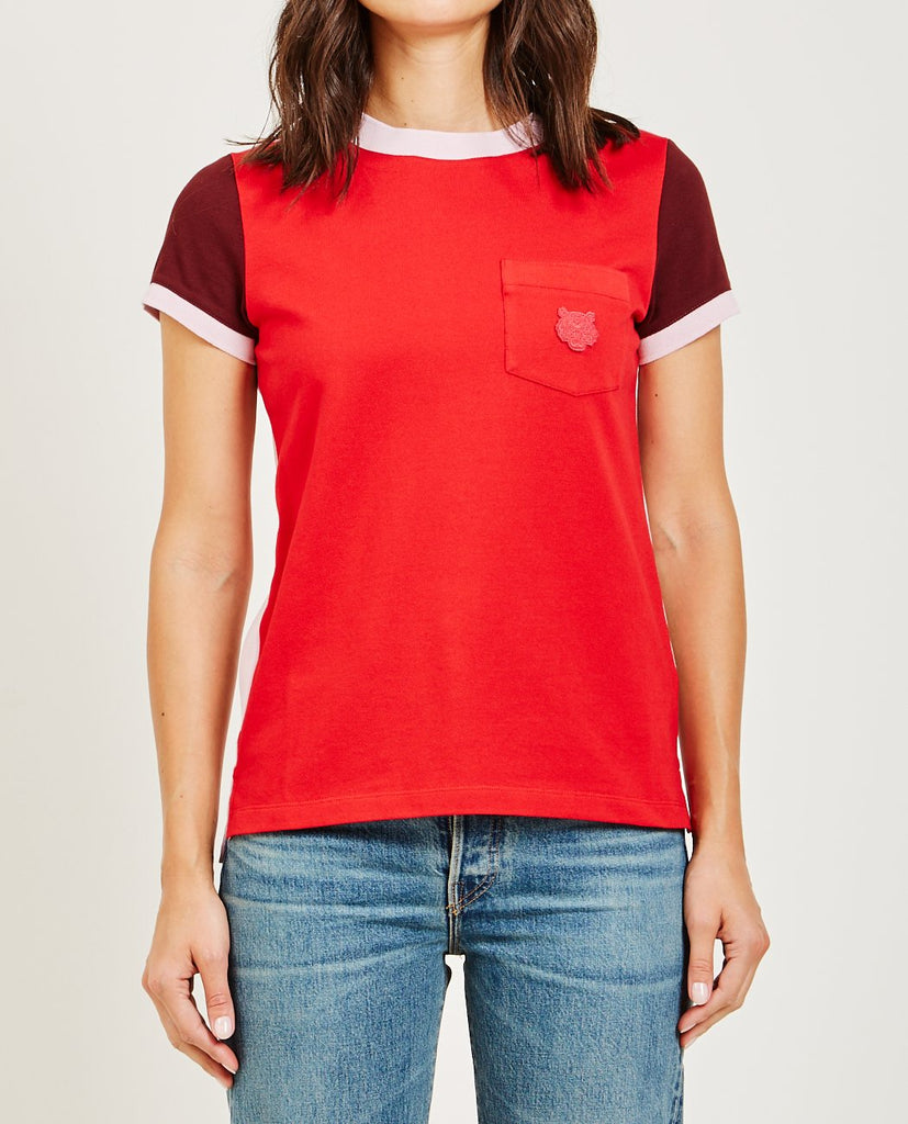 KENZO-COLOR BLOCKED STRAIGHT TEE-Women Tees + Tanks-{option1]