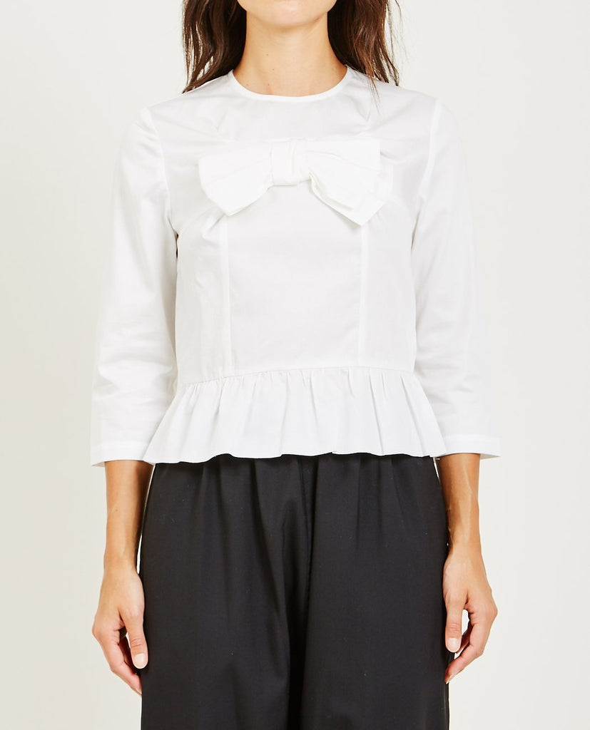 COMME DES GARÇONS GIRL-COTTON SATIN BLOUSE WITH BOW-Blouses-{option1]