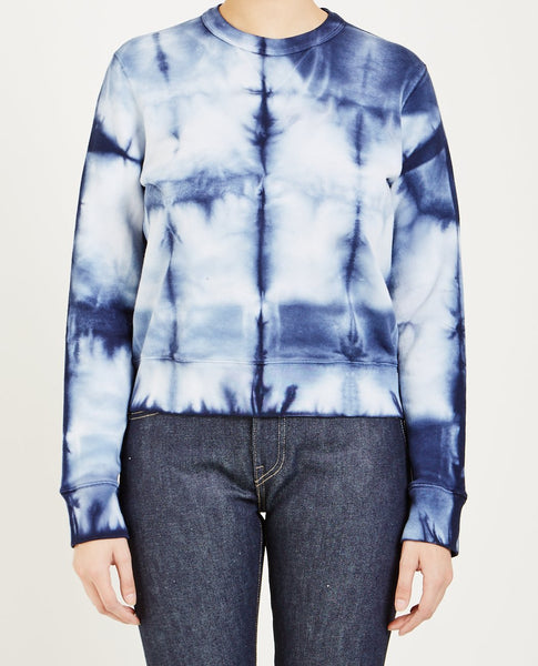 LEVI'S: MADE & CRAFTED CREW FLEECE INDIGO TIGER SHIBORI