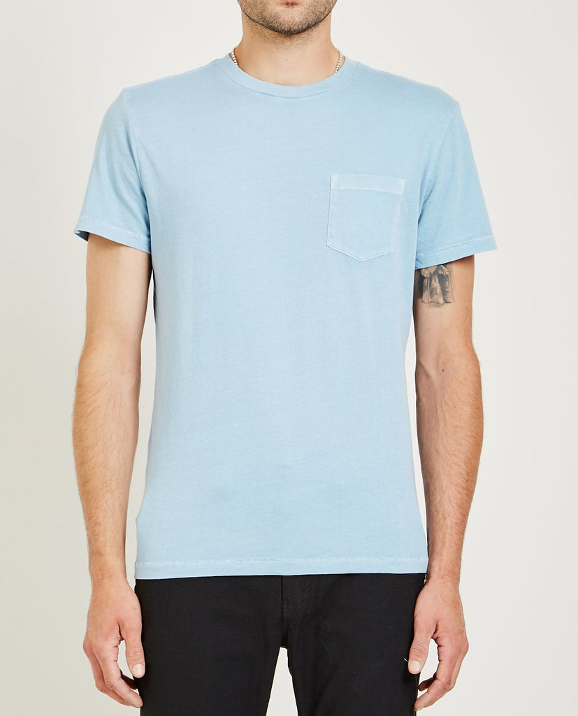 Crew Neck Jersey Pocket Tee Light Blue-AR321-American Rag Cie