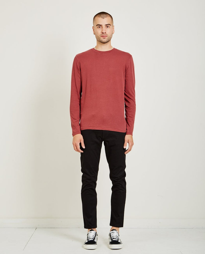 CREW NECK LONG SLEEVE TEE BORDEAUX-AR321-American Rag Cie