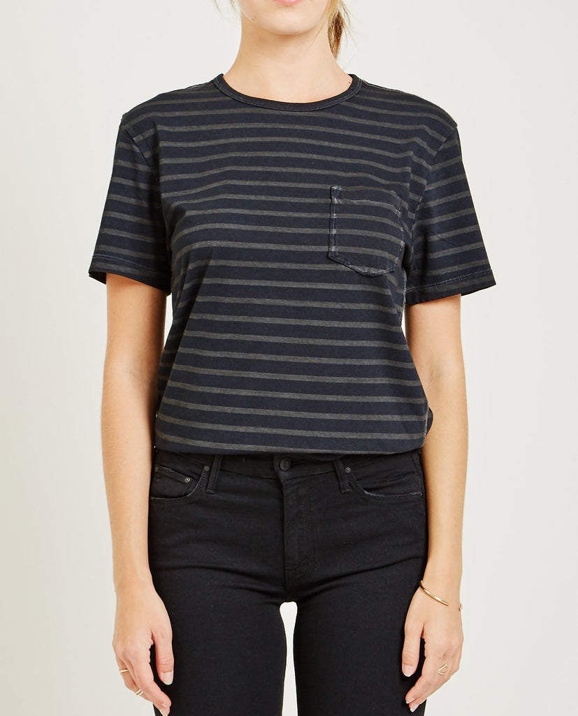 AR321-CREW NECK STRIPE TEE CHARCOAL-Women Tees + Tanks-{option1]