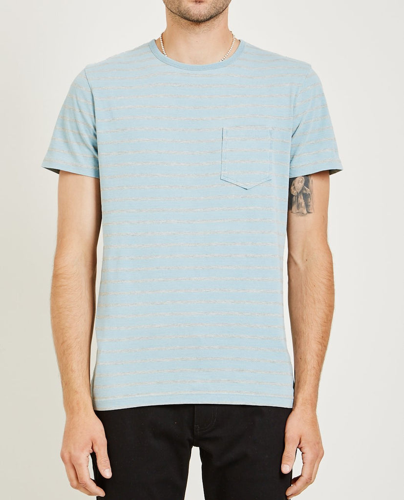 AR321-Crew Neck Stripe Tee Light Blue-Men Tees + Tanks-{option1]