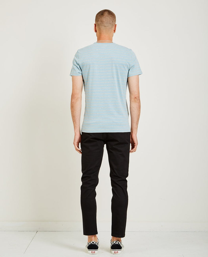 CREW NECK STRIPE TEE LIGHT BLUE-AR321-American Rag Cie