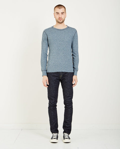 RRL CREWNECK LONG SLEEVE WAFFLE-KNIT- MIDNIGHT SIRO