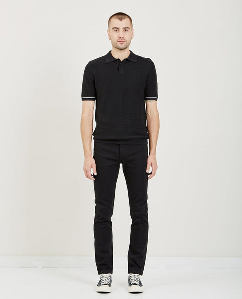 LEVI'S: MADE & CRAFTED CROCHET STITCH POLO JET BLACK