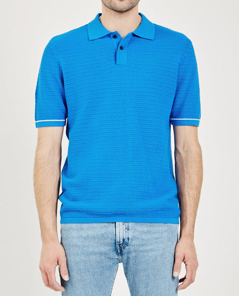 LEVI'S: MADE & CRAFTED CROCHET STITCH POLO VICTORIA BLUE