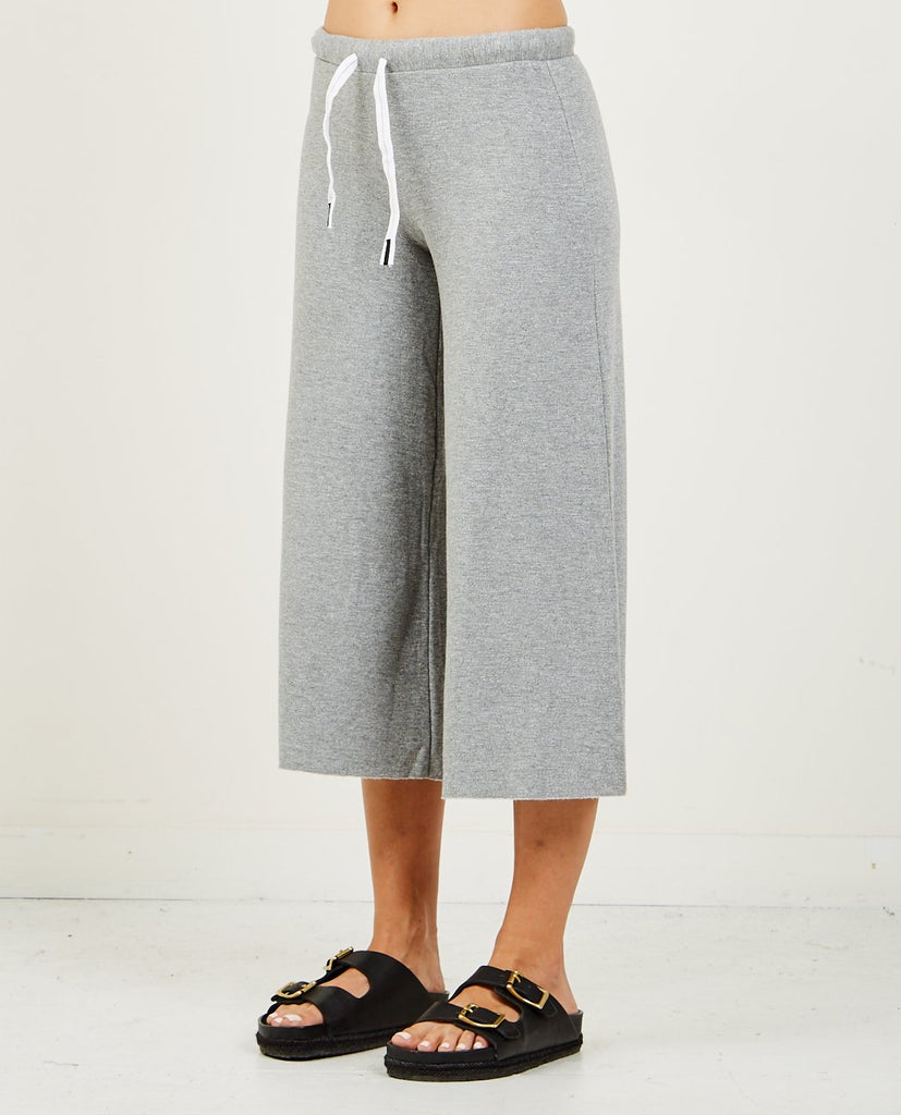 STATESIDE-CROP FLEECE CULOTTE HEATHER GREY-Women Pants-{option1]