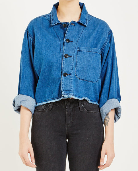 THE GREAT CROPPED ARMY JACKET VIBRANT BLUE