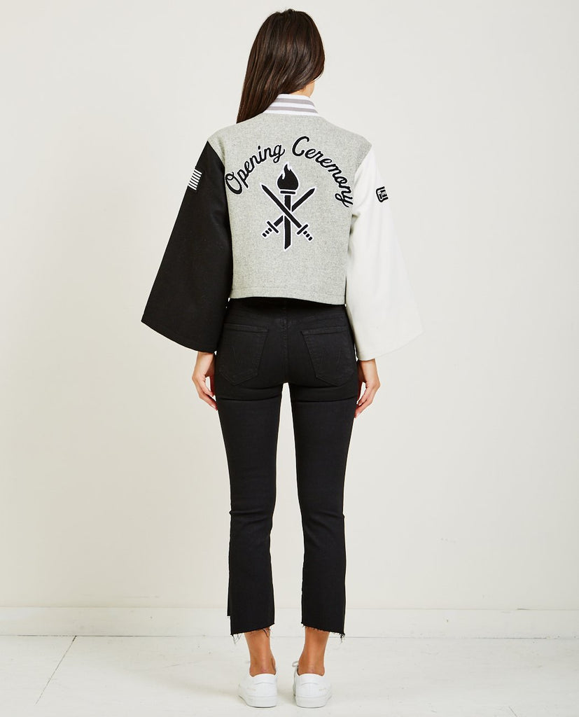 OPENING CEREMONY-CROPPED WOOL OC VARSITY JACKET-Women Coats + Jackets-{option1]