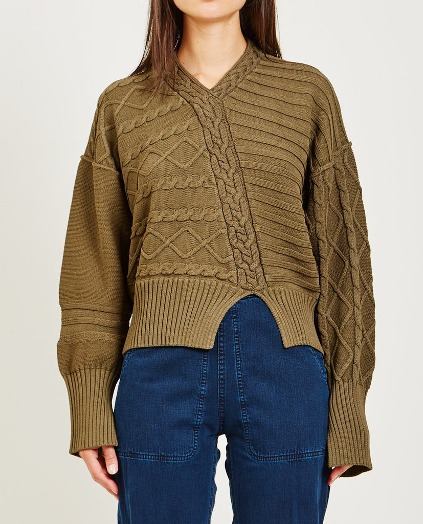 NOMIA-DE-CONSTRUCTED CABLE KNIT SWEATER-Women Sweaters + Sweatshirts-{option1]