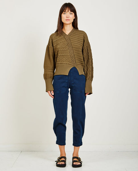 NOMIA DE-CONSTRUCTED CABLE KNIT SWEATER