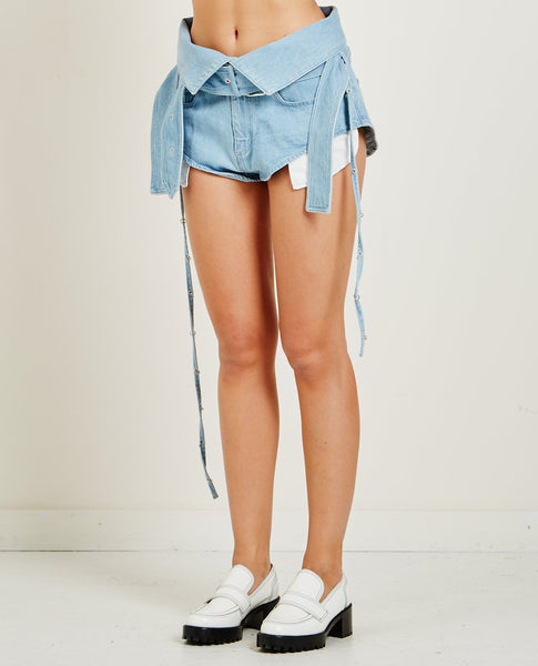 MARQUES ' ALMEIDA DENIM CROSSOVER SHORTS