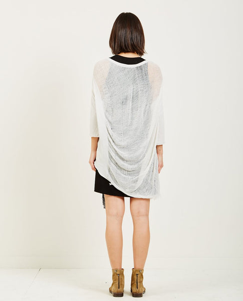 RAQUEL ALLEGRA DIRTY WHITE SIGNATURE JERSEY 3/4 SLEEVE COCOON