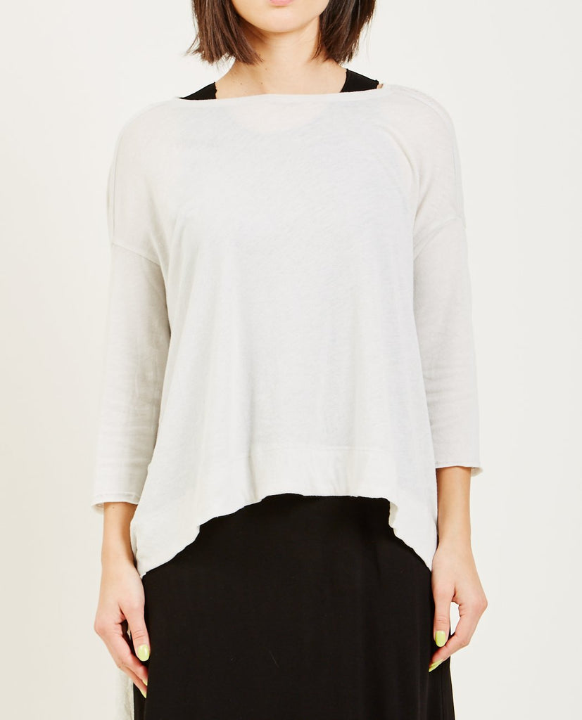 RAQUEL ALLEGRA-DIRTY WHITE SIGNATURE JERSEY 3/4 SLEEVE COCOON-Blouses-{option1]