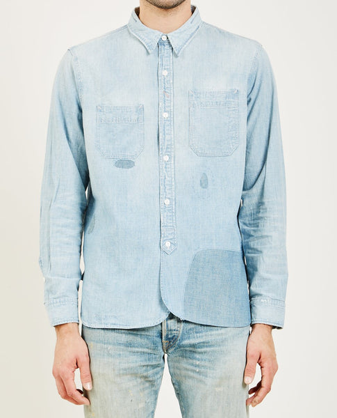 RRL DISTRESSED CHAMBRAY WORK SHIRT