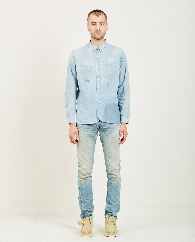 RRL-DISTRESSED CHAMBRAY WORK SHIRT-Men Shirts-{option1]