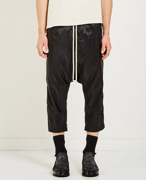 RICK OWENS DRKSHDW DRAWSTRING CROPPED WOVEN PANTS