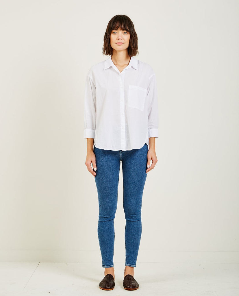 DROP LONG SLEEVE BUTTON DOWN WHITE-STATESIDE-American Rag Cie