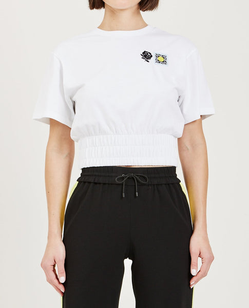 KENZO EMBROIDERED CROPPED ELASTIC WAIST TEE