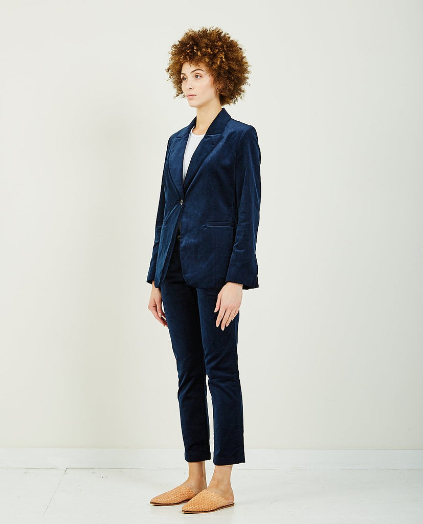 TRAVE-EMERSON BLAZER BLUE VELVET-Women Coats + Jackets-{option1]