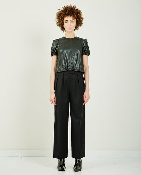 WNDERKAMMER FAUX LEATHER PETITE TOP