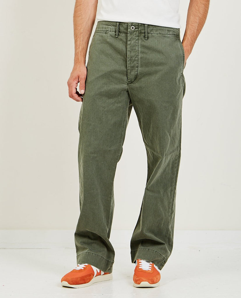 RRL-Field Chino Flat Pant Olive-Men Pants-{option1]