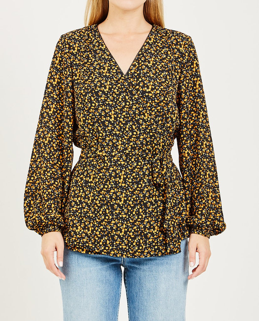 JUST FEMALE-FIJI WRAP BLOUSE LITTLE FLOWER-Blouses-{option1]