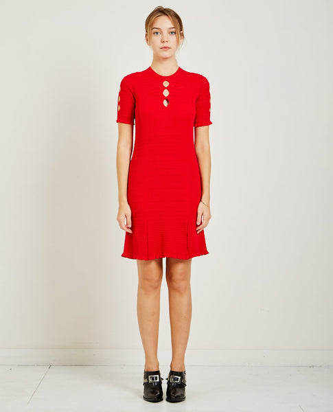 KENZO FIT & FLARE LACE HOLE DRESS