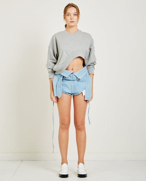 MARQUES ' ALMEIDA FLEECE CROPPED SWEATSHIRT