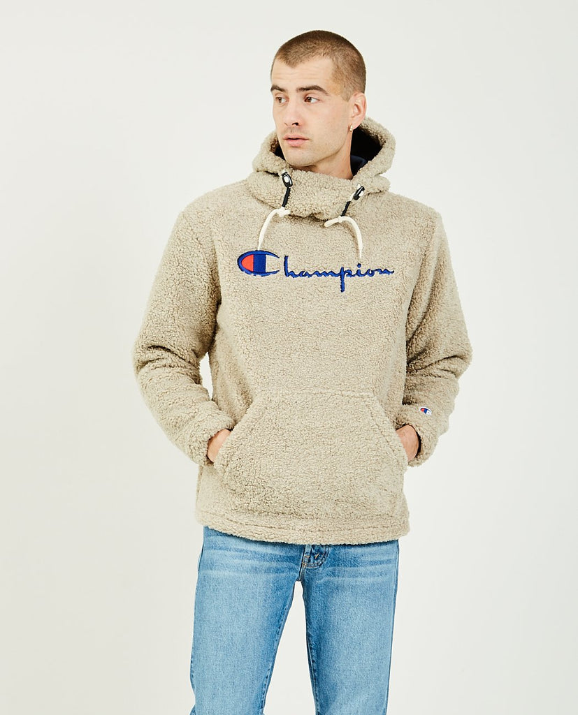 CHAMPION-Fleece Hooded Pull-over Jacket-Men Coats + Jackets-{option1]