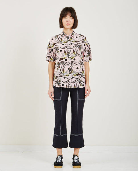 KENZO FLYING PHOENIX SILK BALLOON SHIRT