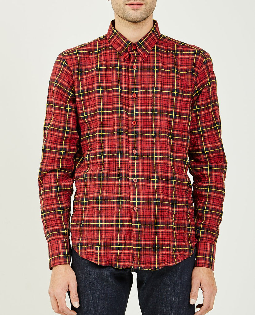 Folk Flannel Easy Shirt Red & Yellow-NAKED & FAMOUS-American Rag Cie