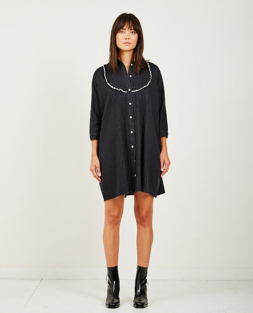 NEUL-FRILLY DENIM SHIRT DRESS-DRESSES-{option1]