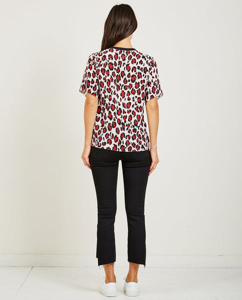 KENZO GATHERED TOP LEOPARD CREPE