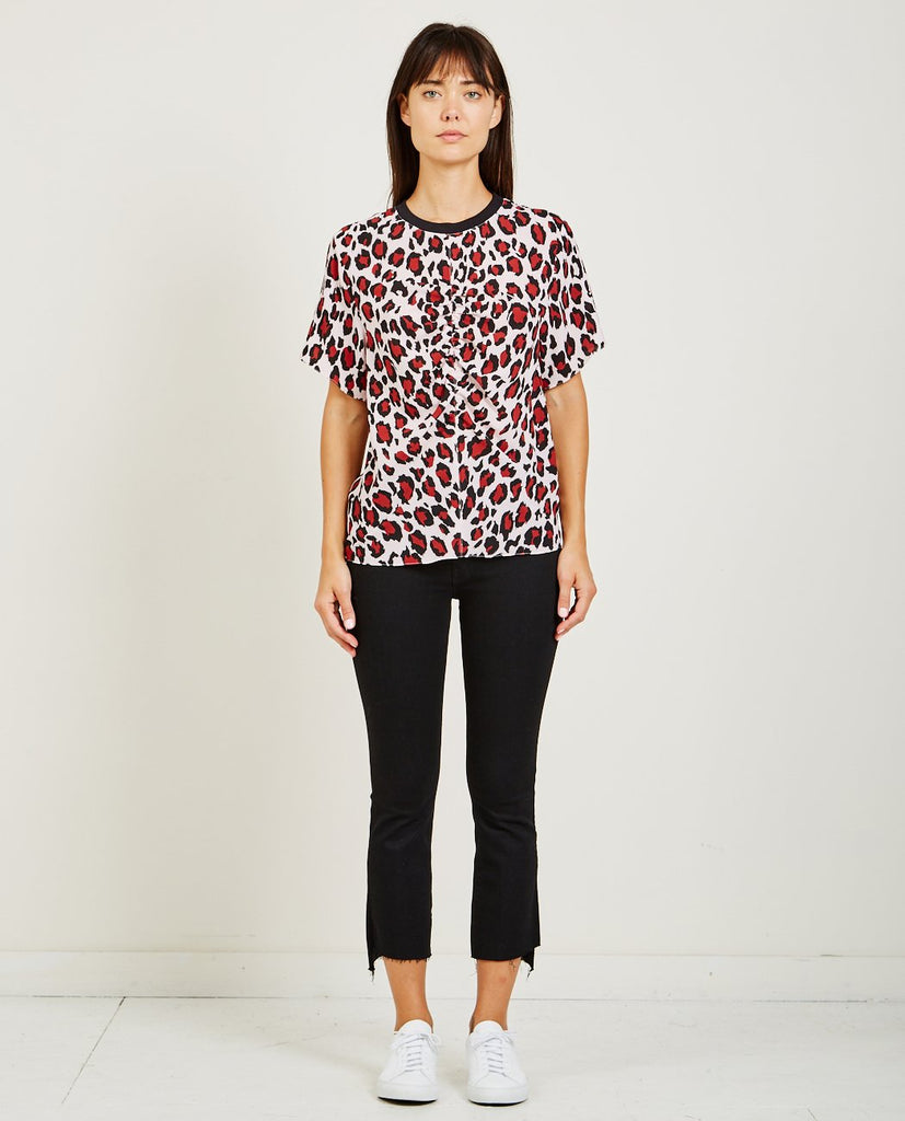 KENZO-GATHERED TOP LEOPARD CREPE-Women Tees + Tanks-{option1]