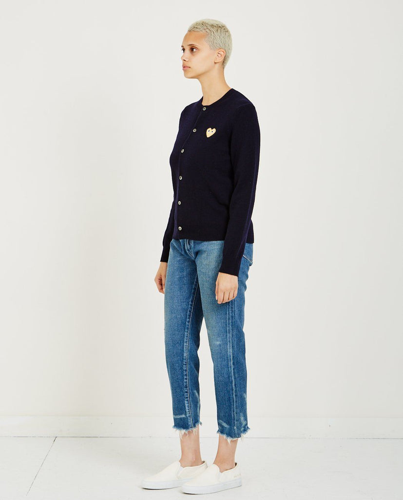 COMME DES GARÇONS PLAY-GOLD HEART CARDIGAN-Women Sweaters + Sweatshirts-{option1]
