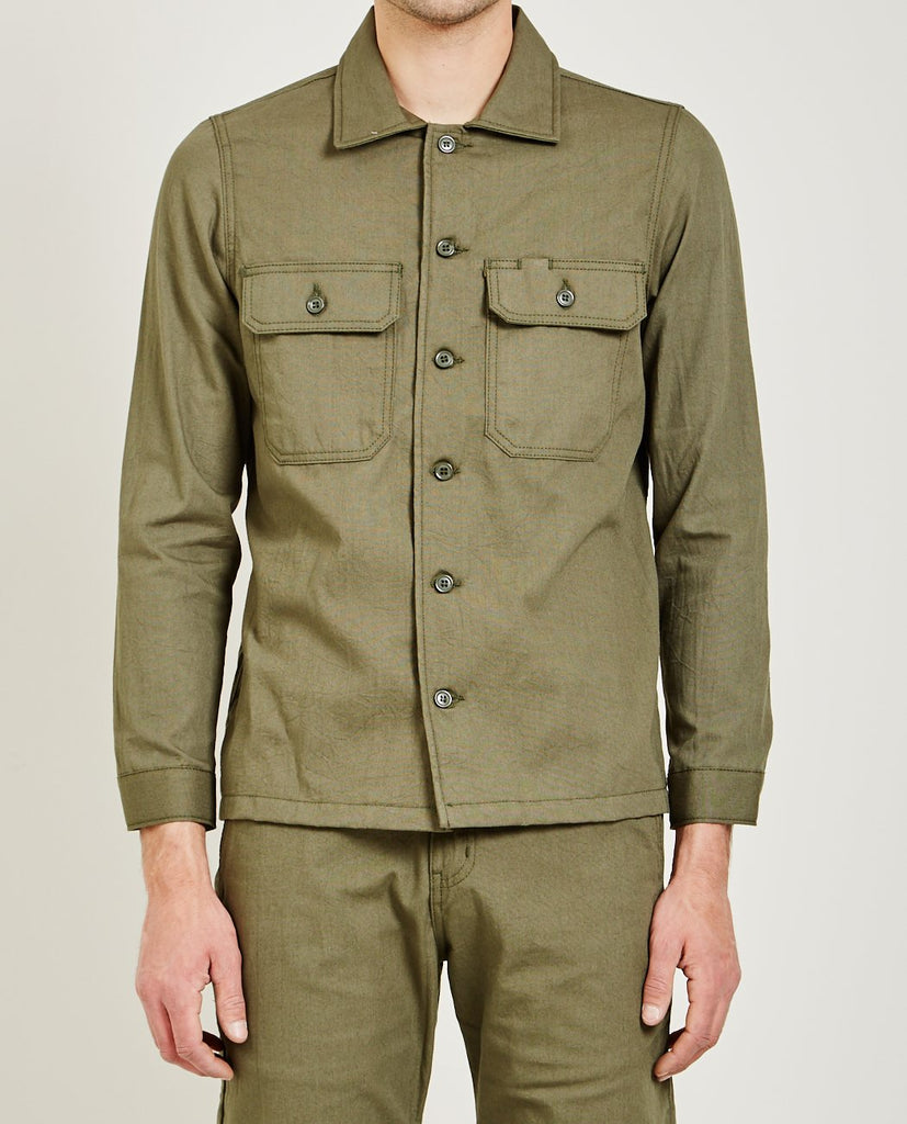 GREEN RINSED OXFORD WORK SHIRT-NAKED & FAMOUS-American Rag Cie