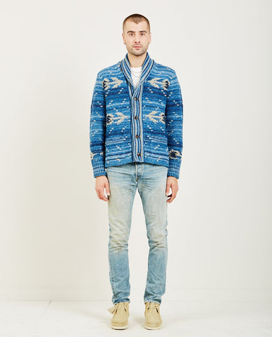 RRL INDIGO STRIPED TWILL JACKET
