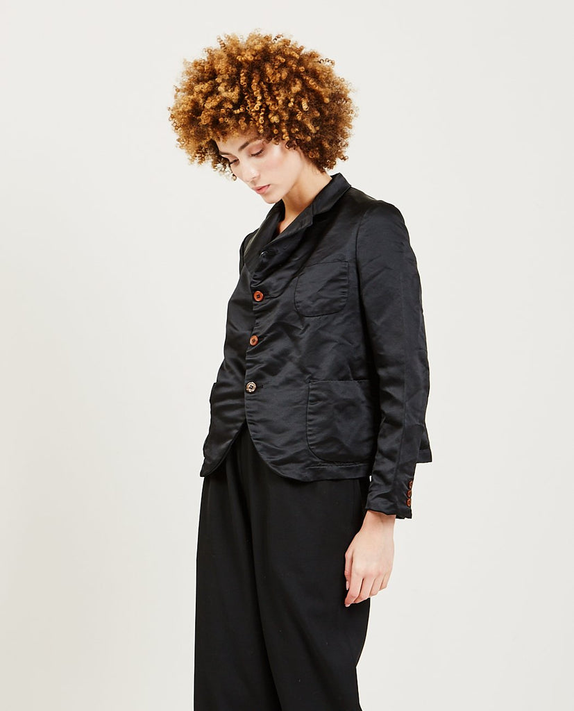 COMME DES GARÇONS GIRL-Heavy Satin Blazer Jacket-Women Coats + Jackets-{option1]