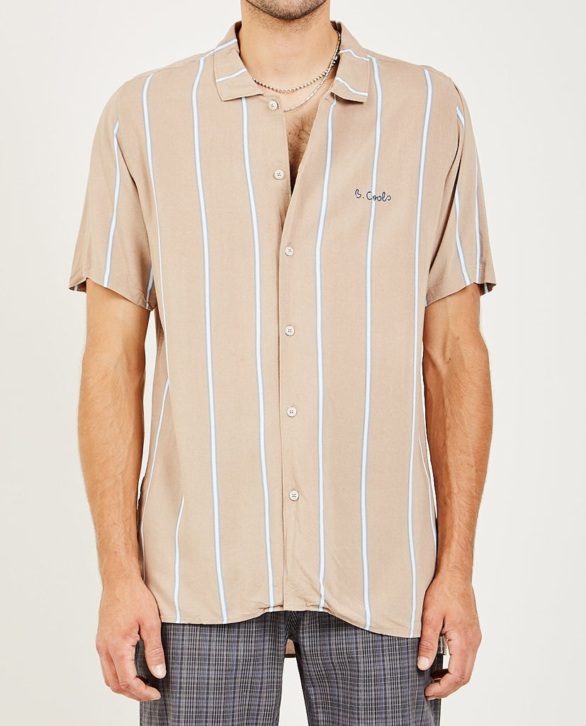 BARNEY COOLS-HOLIDAY CAMP COLLAR SHIRT BEIGE-Men Shirts-{option1]