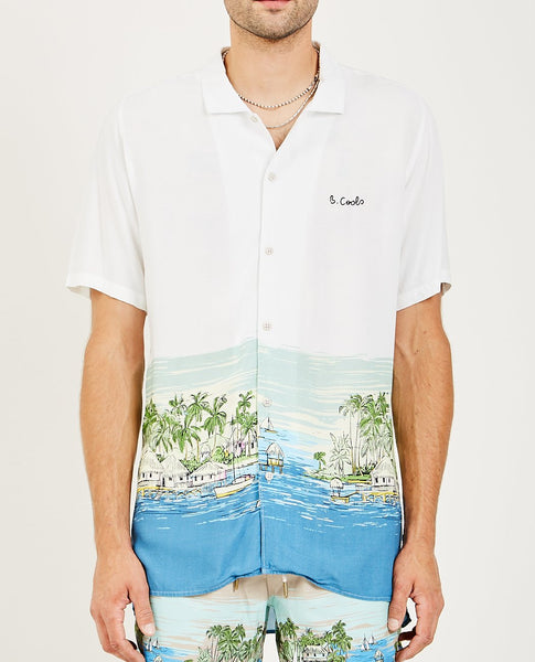 BARNEY COOLS HOLIDAY CAMP COLLAR SHIRT VACATION PRINT