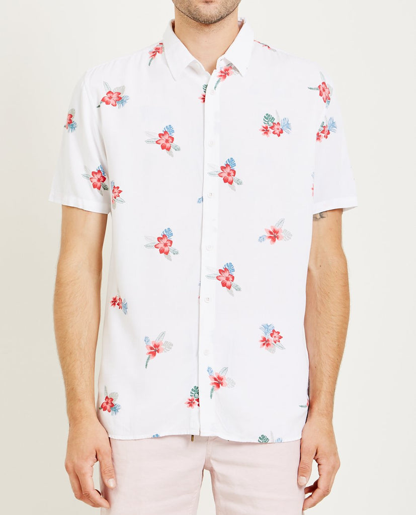 BARNEY COOLS-HOLIDAY SHIRT WHITE & FLORAL-Men Shirts-{option1]