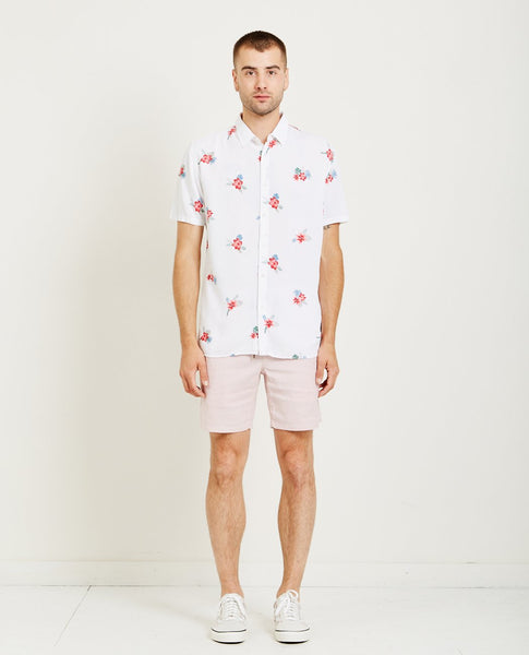 BARNEY COOLS HOLIDAY SHIRT WHITE & FLORAL