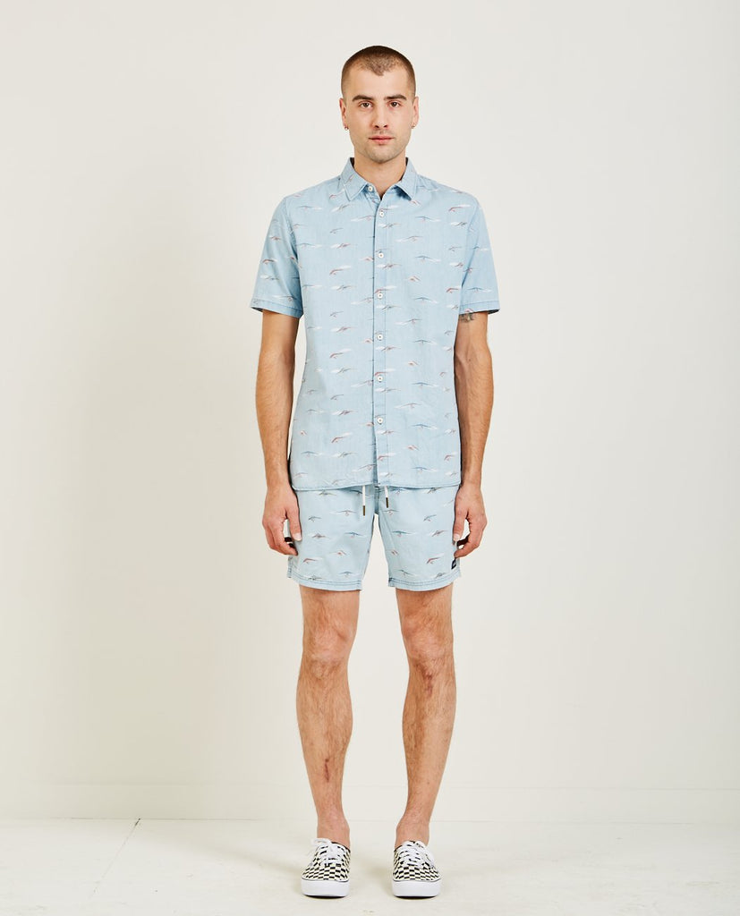 BARNEY COOLS-HOLIDAY SHORT SLEEVE SHIRT HANGLIDER INDIGO-Men Shirts-{option1]