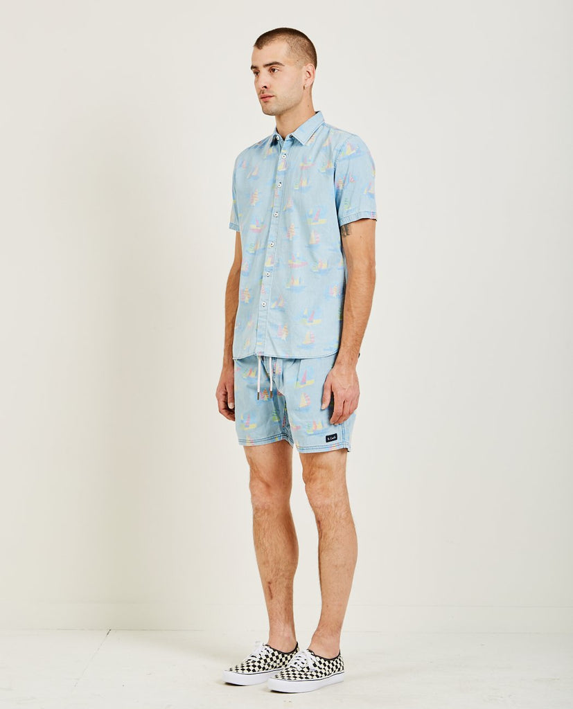 HOLIDAY SHORT SLEEVE SHIRT INDIGO-BARNEY COOLS-American Rag Cie