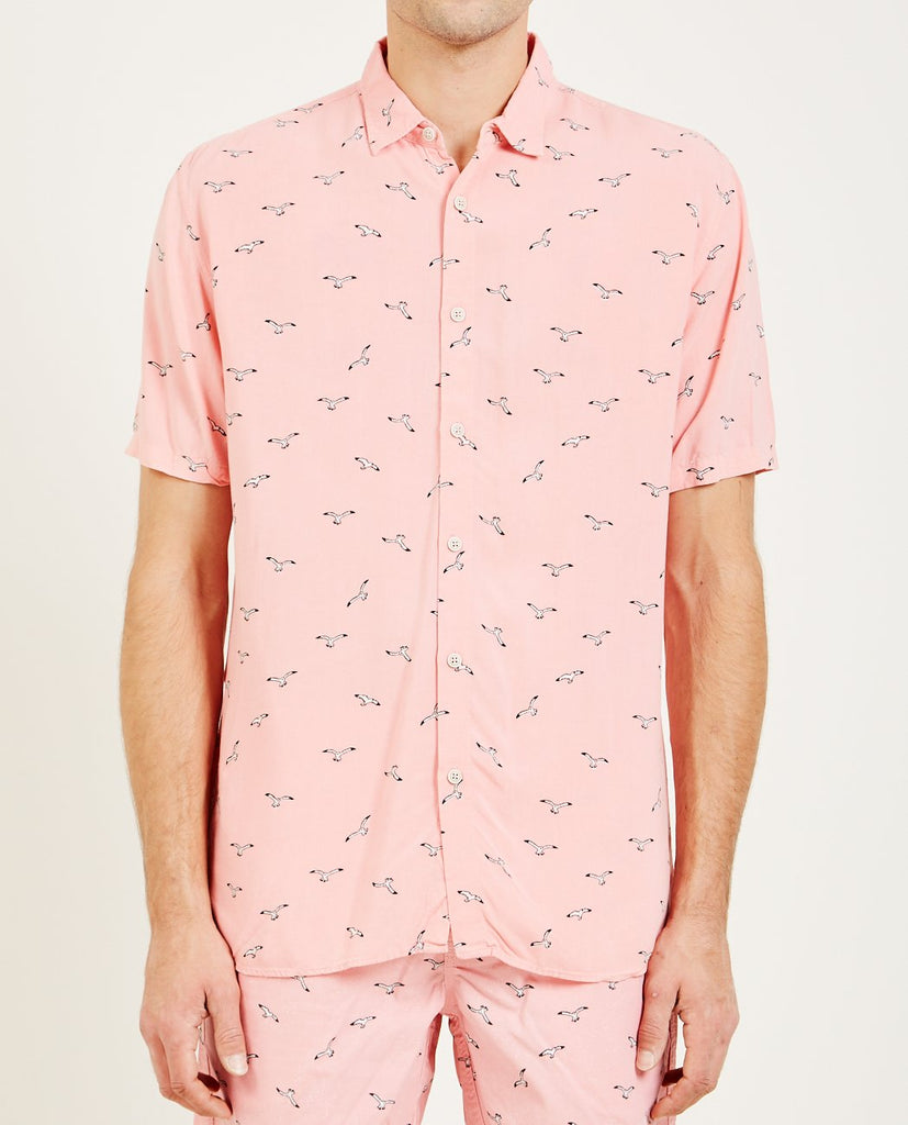 BARNEY COOLS-HOLIDAY SHORT SLEEVE SHIRT PINK SEAGULL-Men Shirts-{option1]