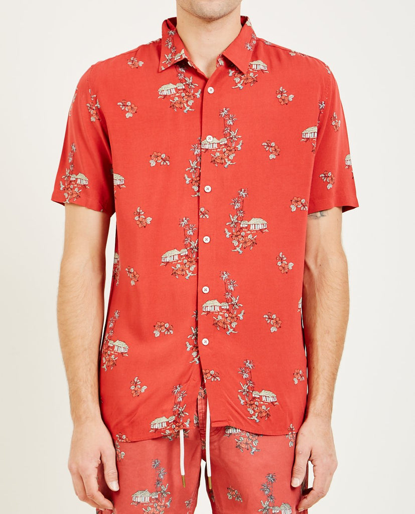 HOLIDAY SHORT SLEEVE SHIRT RED VACATION-BARNEY COOLS-American Rag Cie