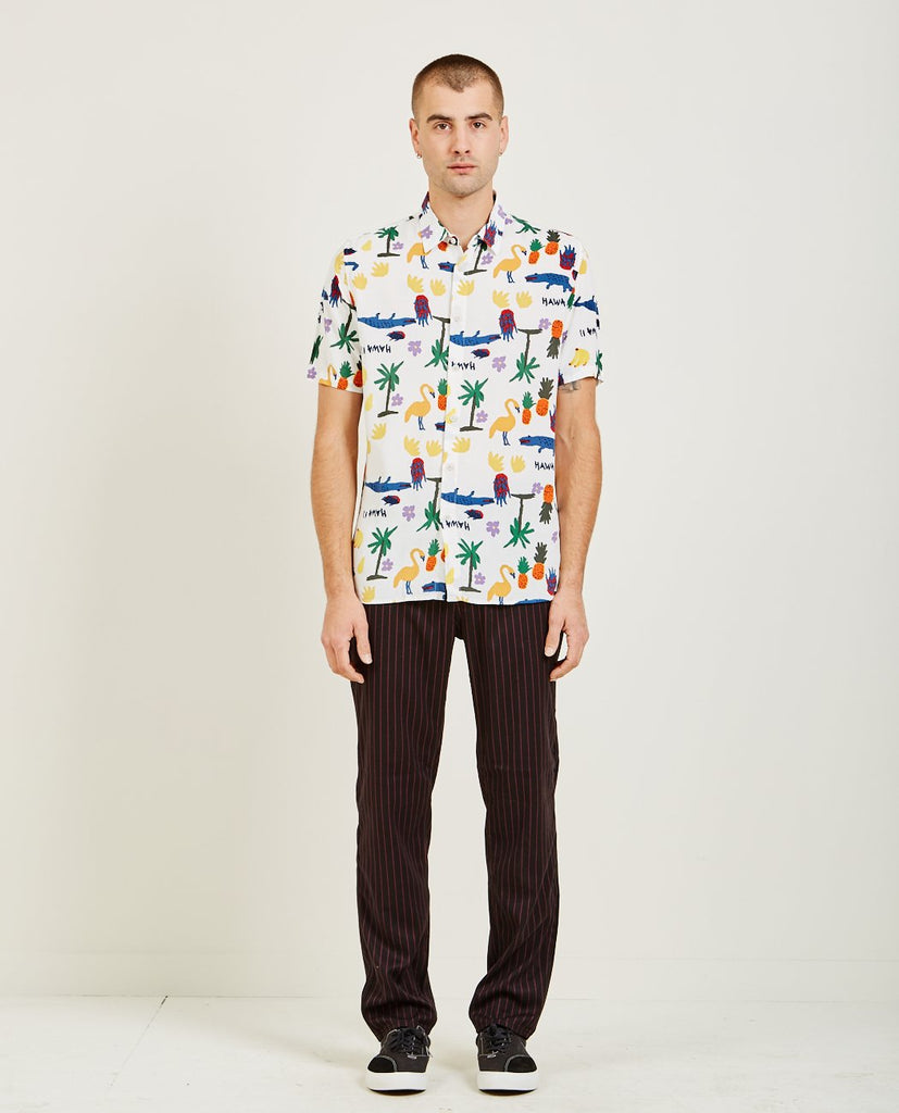 HOLIDAY SHORT SLEEVE SHIRT WHITE SUMMER-BARNEY COOLS-American Rag Cie