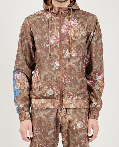 HAN KJOBENHAVN HOOD TRACK TOP BROWN FLOWER NYLON